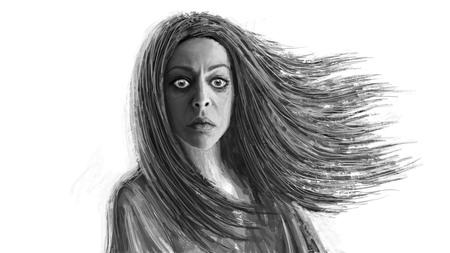 Femme chaman noire aux cheveux flottants. Illustration fantastique devant.