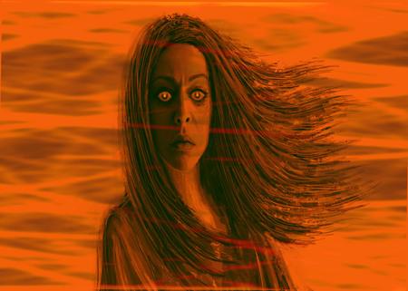 Dark shaman woman. Fantasy illustration in front. Orange background Imagens