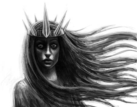 Dark queen with crown and flowing hair. Fantasy illustration. Imagens
