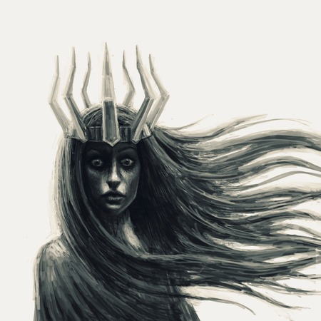 Dark queen with crown. Fantasy illustration in front. Archivio Fotografico