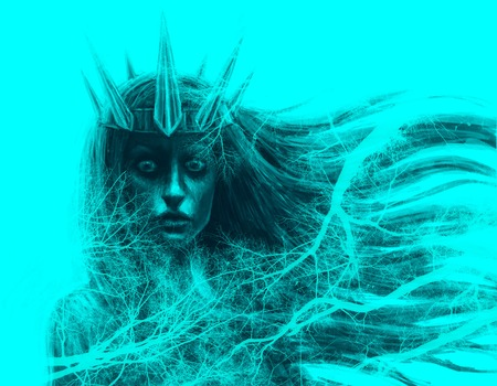 Forest queen with crown and flowing hair. Fantasy illustration in front. Blue background Imagens