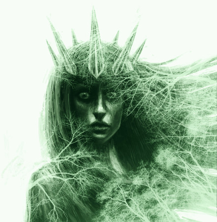 Forest queen with crown and flowing hair. Fantasy illustration in front. Imagens
