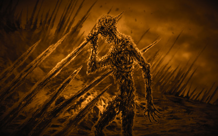 Dead man on stakes waving his hand in the wind. Genre of horror. Orange background color