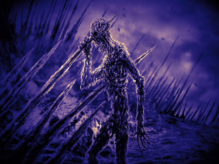 Dead man on stakes waving his hand in the wind. Genre of horror. Violet background color Imagens