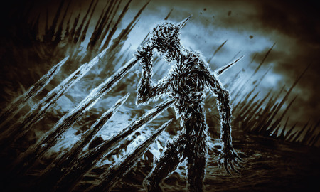 Dead man on stakes waving his hand in the wind. Genre of horror. Blue background. Imagens