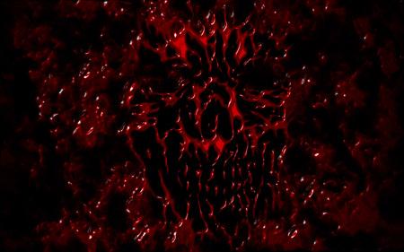 Red evil shabby head illustration. Genre of horror. Scary monster face.