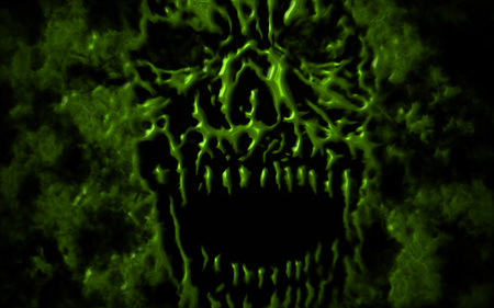 Green angry head. Scary monster face illustration. Genre of horror. States of mind. Imagens
