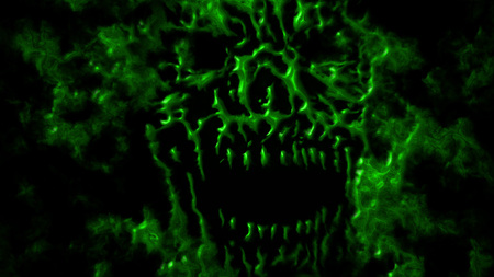 Green angry monster head. Scary monster face illustration. Genre of horror. States of mind.