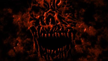 Red evil shabby head illustration. Genre of horror. Scary monster face Imagens