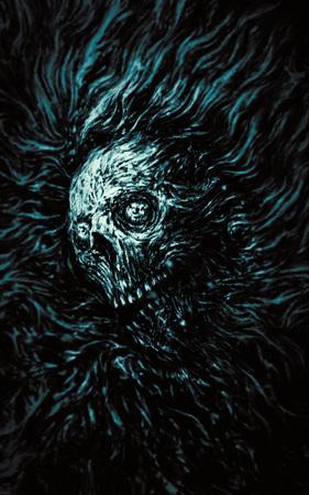 Zombie head in water. Genre of horror. Blue color.