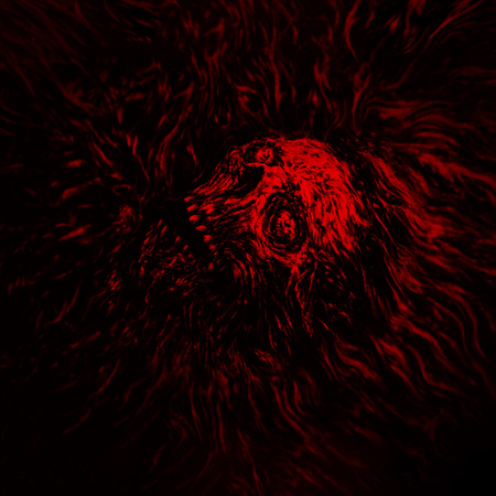 Zombie head in bloody water. Genre of horror. Red color.