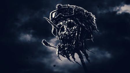 Dead soldier head in helmet on metal pin. Zombie war is over. Dark sky background. Genre of horror. Blue background.