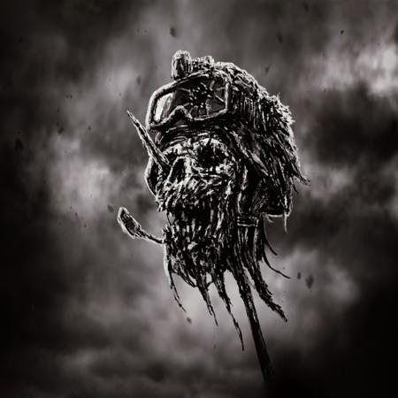 Dead soldier head in helmet on metal pin. Zombie war is over. Dark sky background. Genre of horror. Black and white color. 版權商用圖片