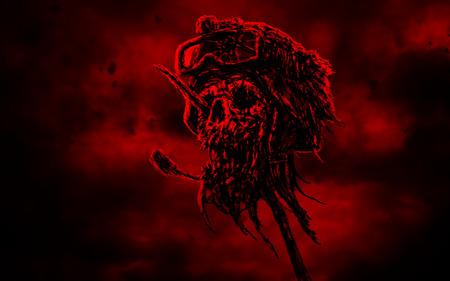 Dead soldier head in helmet on metal pin. Zombie war is over. Dark sky background. Genre of horror. Red background color.