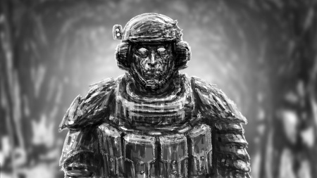 Space trooper in suit. Science fiction genre. Front view. Black and white color. Stock Photo