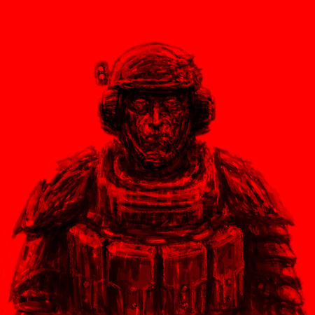 Space trooper in suit. Science fiction genre. Front view. Red background. Stock Photo