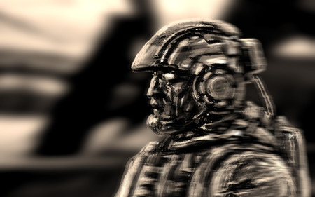 Space infantry walks with a heavy rifle. Science fiction character soldier. Side view. Imagens