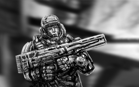 Soldier of future. Front view. Science fiction genre. Stock Photo