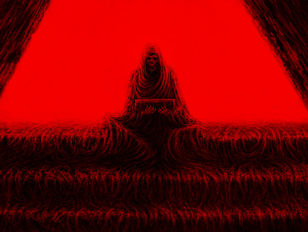 Skeleton of monk sits on steps and holds box. Horror genre. Red color background.