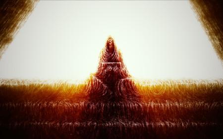Skeleton of monk sits on steps and holds box. Orange color background. Horror genre. Imagens