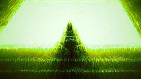 Skeleton of monk sits on steps and holds box. Horror genre. Green color background.