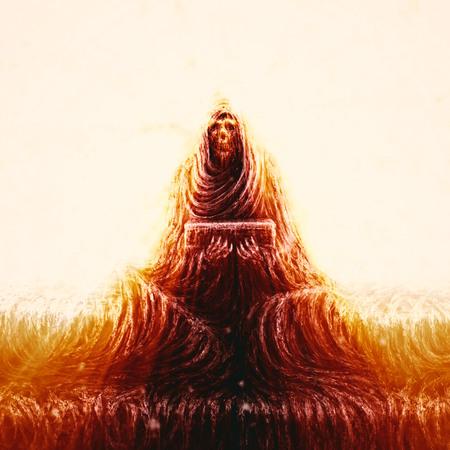 Skeleton of monk sits on steps and holds box. Horror genre. Orange color background.