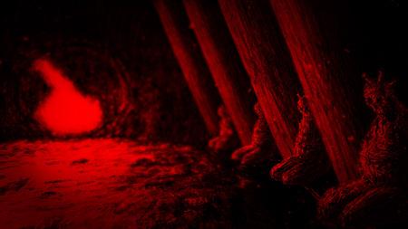 Mummies of entrance forgotten temple. Horror genre. Red background. Banco de Imagens