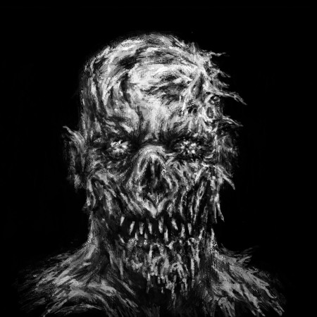 Monster morph looks creepy. Illustration in genre of horror. Scary face character in black and white colors.