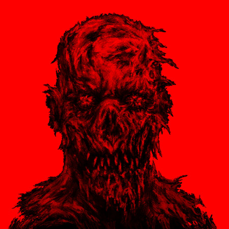 Monster morph looks creepy. Illustration in genre of horror. Scary face character in black and red colors.