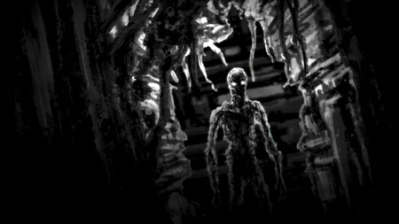 Dark zombie standing in corridor spaceship with blinking light. Illustration in genre of horror. Scary face character in black and white colors.