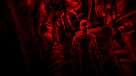 Dark zombie standing in corridor spaceship with blinking light. Illustration in genre of horror. Scary face character in black and red colors. Imagens - 121640093