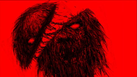 Chopped by sword zombies monster. Illustration in the horror genre. Horror character concept. Red background color.