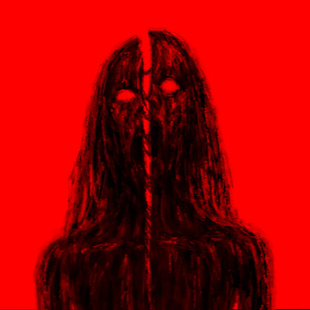 Chopped by sword zombies vampire. Illustration in the horror genre. Horror bloody character concept. Red background color.