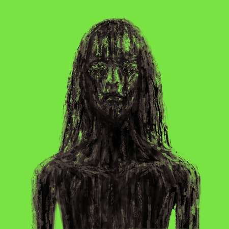 Scary forest girl in mud. Illustration in the horror genre. Horror character concept. Green background color.