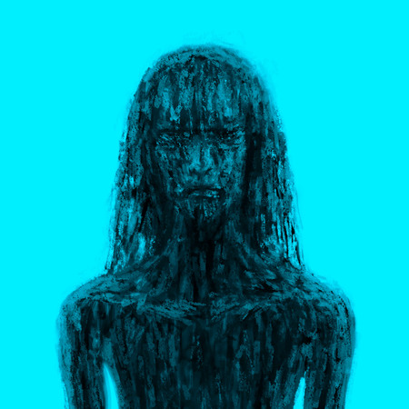 Scary icy girl in black mud. Illustration in the horror genre. Horror character concept. Black and blue color.