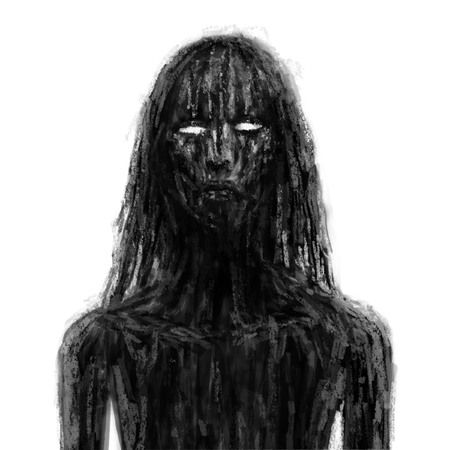 Scary vampire girl in black mud. Illustration in the horror genre. Horror character concept. Black and white color. Imagens - 121640104