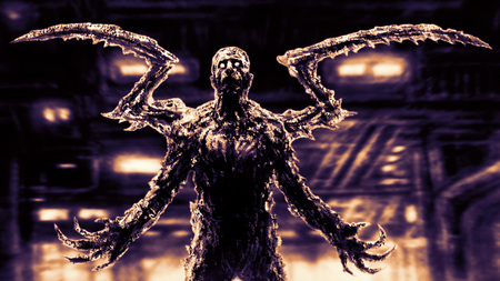 Creepy demon insect on background of factory floor. Abandoned building. Horror character concept. Imagens