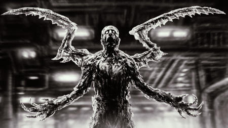 Dark zombie insect standing inside spaceship with blinking light. Genre of horror. Scary character in black and white