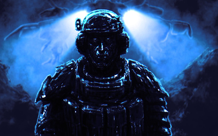 Soldier stands against backdrop of spaceship landing on alien planet. Illustration in science fiction genre on blue background.