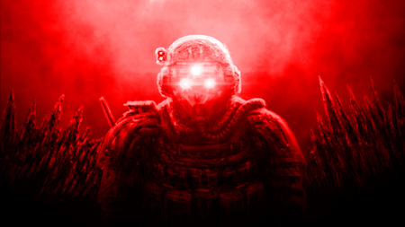 Special Forces officer in night vision device on red background. Illustration in science fiction genre.