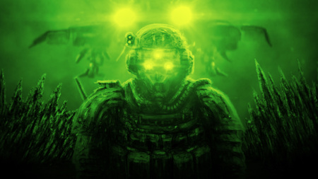 Soldier stands against backdrop of spaceship landing on an alien planet. Illustration in science fiction genre on green background.
