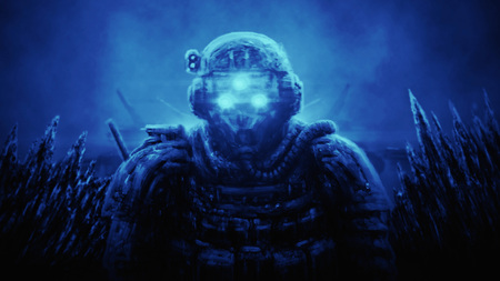 Special Forces officer in night vision device on blue background. Illustration in science fiction genre. Imagens - 121640204