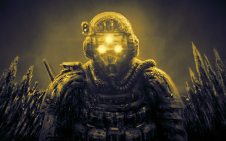 Special Forces officer in night vision device on orange background. Illustration in science fiction genre.