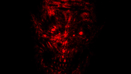 Abstraction zombie face on black background. Illustration in horror genre. Scary monster character face. Imagens