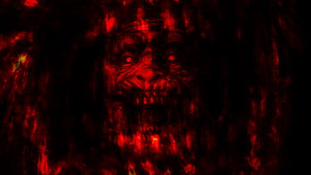 Abstraction zombie face on black background. Illustration in horror genre. Red background color. Imagens - 121640207