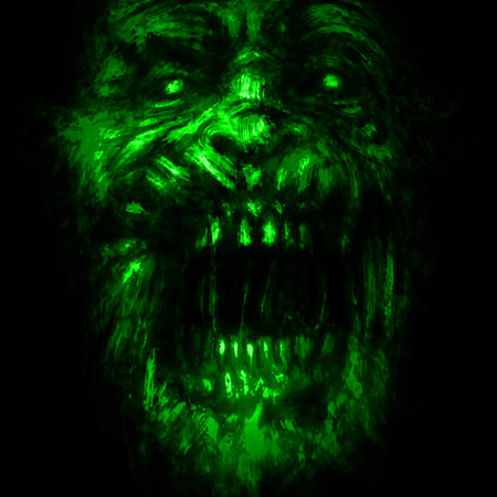 Abstraction zombie face on black background. Illustration in horror genre. Green color. Scary monster character face.