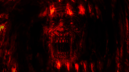 Abstraction zombie face on black background. Illustration in horror genre. Scary monster character face. Red background color.
