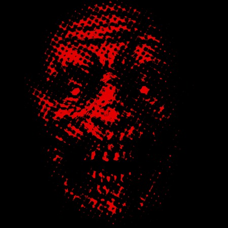 Abstraction zombie face. Illustration in horror genre. Scary monster character face. Red background color. Imagens - 121640346