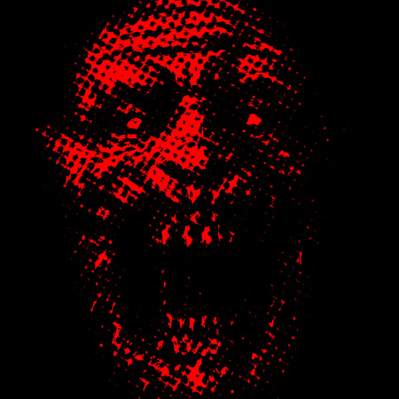 Abstraction zombie face on black background. Red color. Illustration in horror genre. Scary monster character face.
