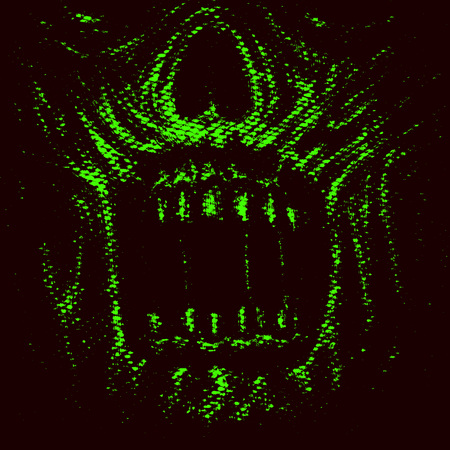 Abstraction zombie face. Illustration in horror genre. Scary monster character face. Green color. Stock Photo